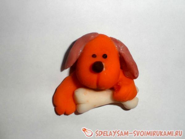 Магнит собачка из холодного фарфора