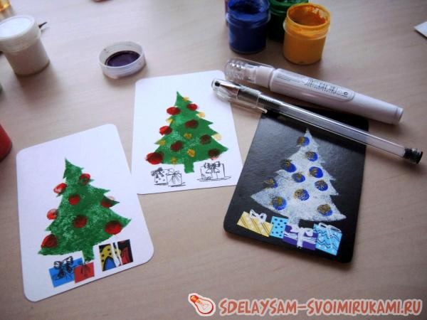 Много новогодних открыток на скорую руку