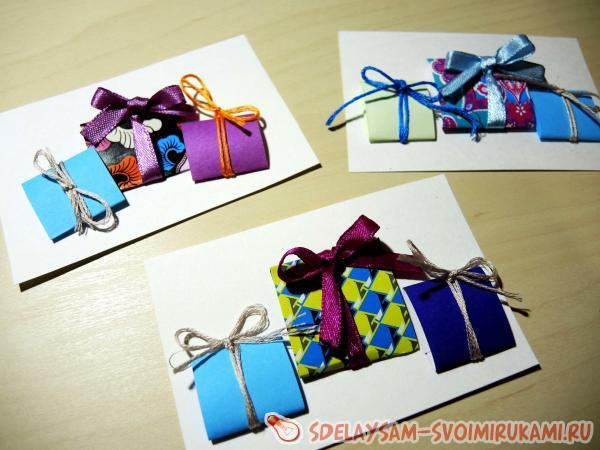 Приклеиваем миниатюрные подарочки