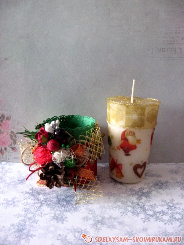 Новогодняя свеча и декорация