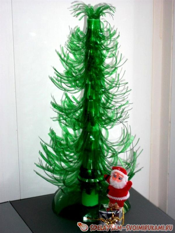 New Year Christmas tree from a plastic bottle