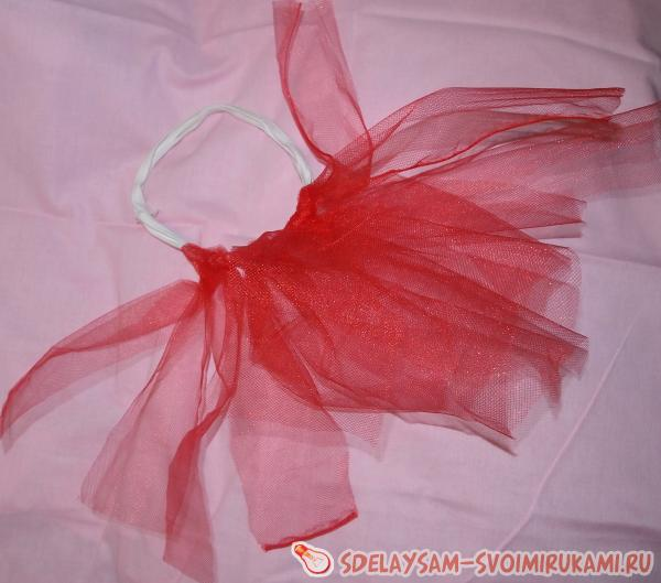 Attach tulle strips