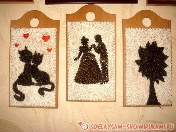 Картина из нитей и гвоздей «Влюбленная парочка котов»