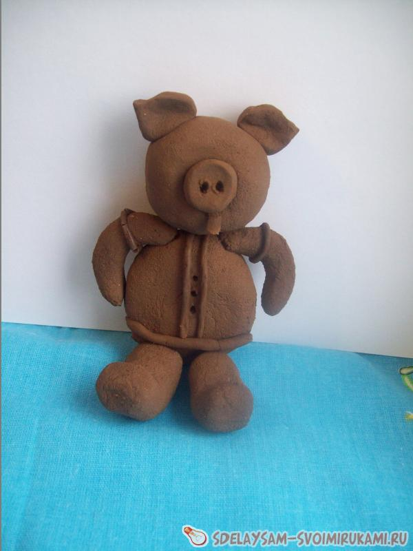 Piglet made of clay