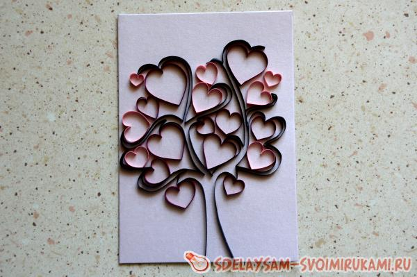 Квиллинг открытка Дерево любви