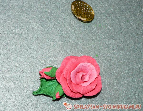 Rose Brooch from Polymer Clay