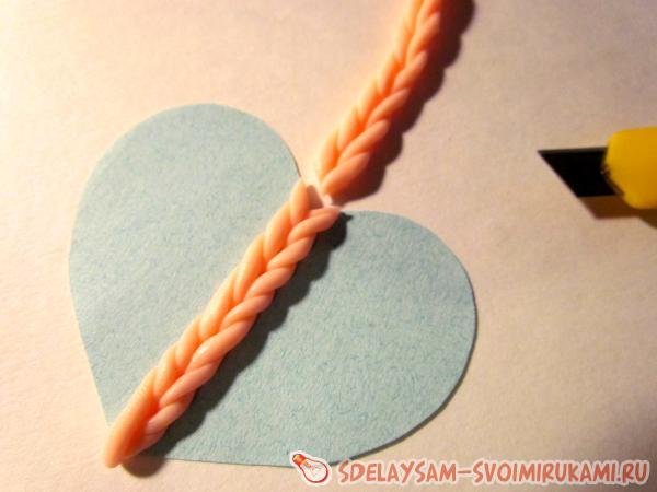 Кулон Вязаное сердце
