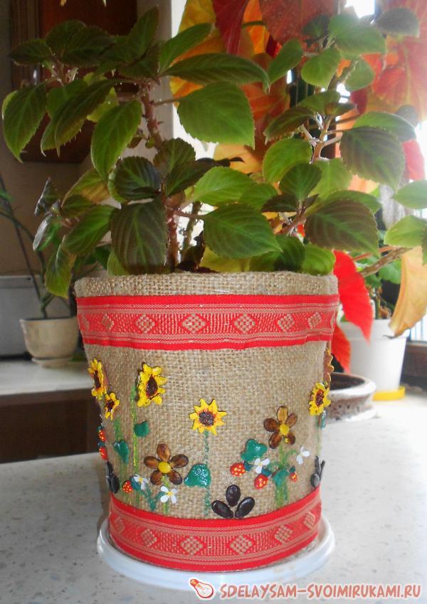 Декор цветочного горшка