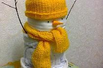 Снеговик из одноразовых подгузников