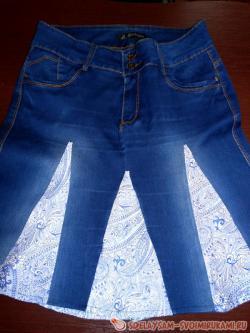 Стильная юбка из старых джинсов
