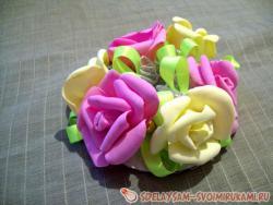 Украшения сетки для волос розами из фоамирана