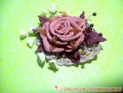 Зажим для волос в стиле бохо роза из фоамирана