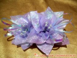 Заколка-зажим для волос из органзы «Первоцветы»