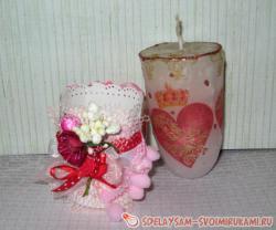 Свеча ко дню влюбленных с декором