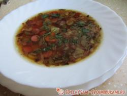 Quick soup with sausages