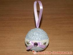 Елочная игрушка «Вязаный шар»