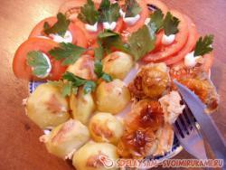 Необычное запеченное мясо с картофельным гарниром