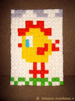 Cockerel in origami-mosaic technique