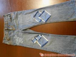 Как залатать джинсы на коленках ?
