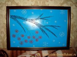 Картина в технике изонить «Веточка рябины»