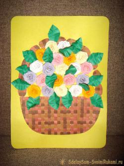 Открытка с объемными розами в плетеной корзинке