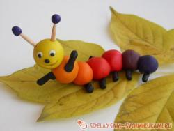 Rainbow caterpillar from plasticine