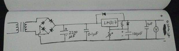 Simple power supply with adjustable voltage