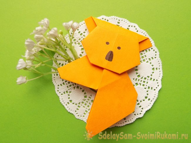"""Оригами """"Коала"""". Пошаговая схема с фото."""