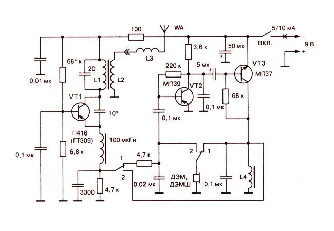 Simple radio on three transistors