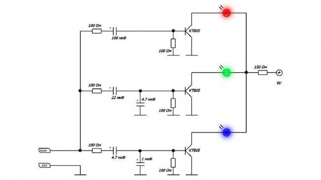 Простые схемы цветомузыки на светодиодах и светодиодных