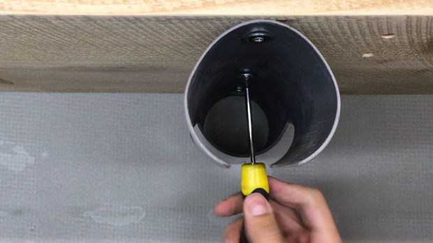 Holder for a PVC pipe screwdriver