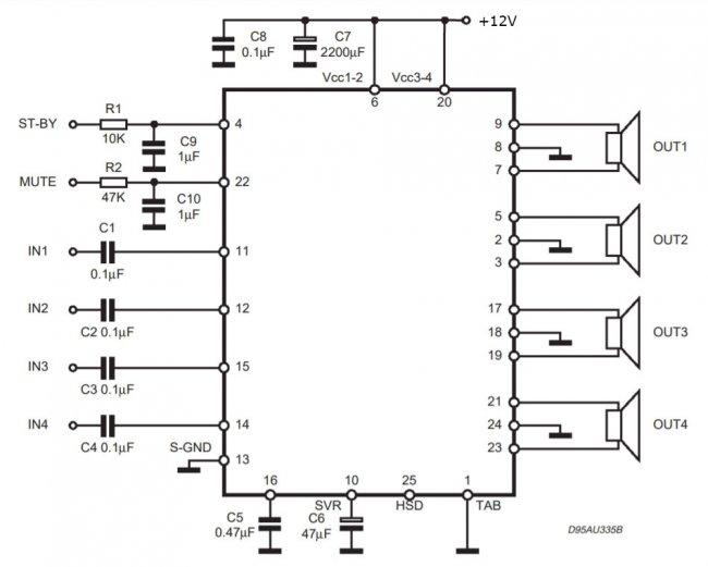 Simple power amplifier 4x50 W