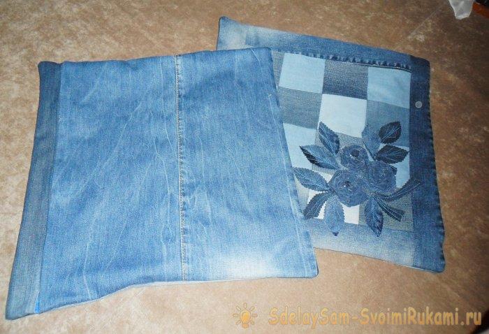 Как сшить подушки (или наволочки) из старых джинсов, фото