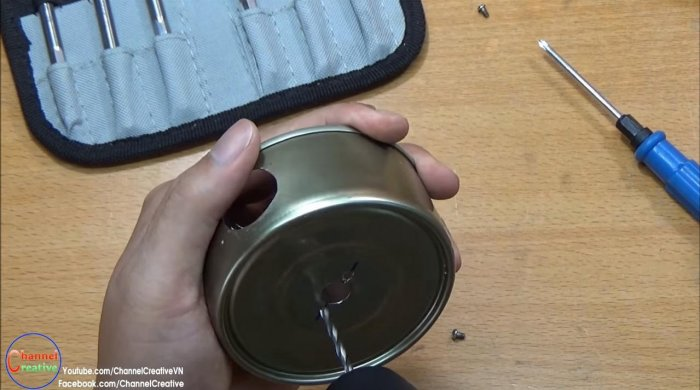 Blower from a tin can