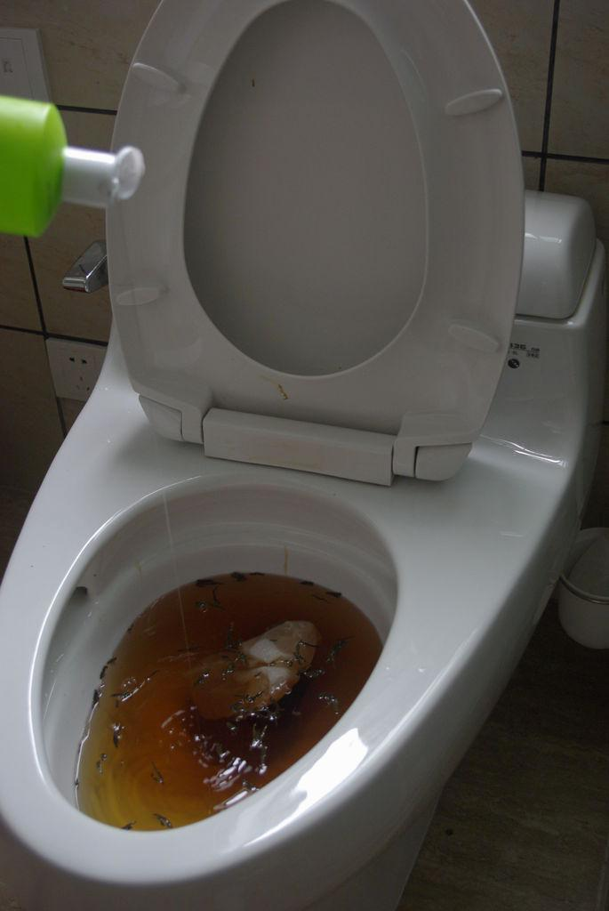 How to clean the clogged toilet without the plunger