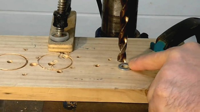 How to drill a washer exactly
