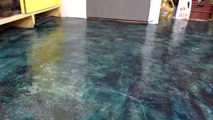 Мраморный пол из бетонного в гараже своими руками