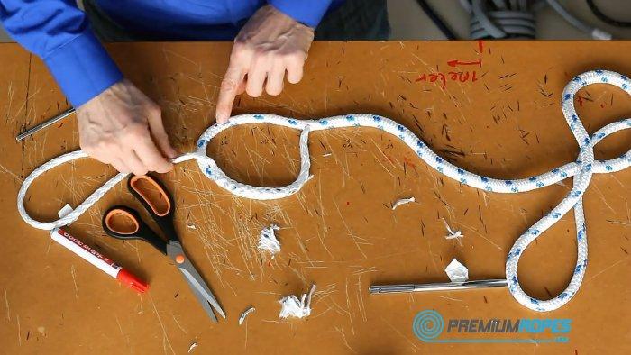 Как сделать красивую петлю на веревке с оплеткой