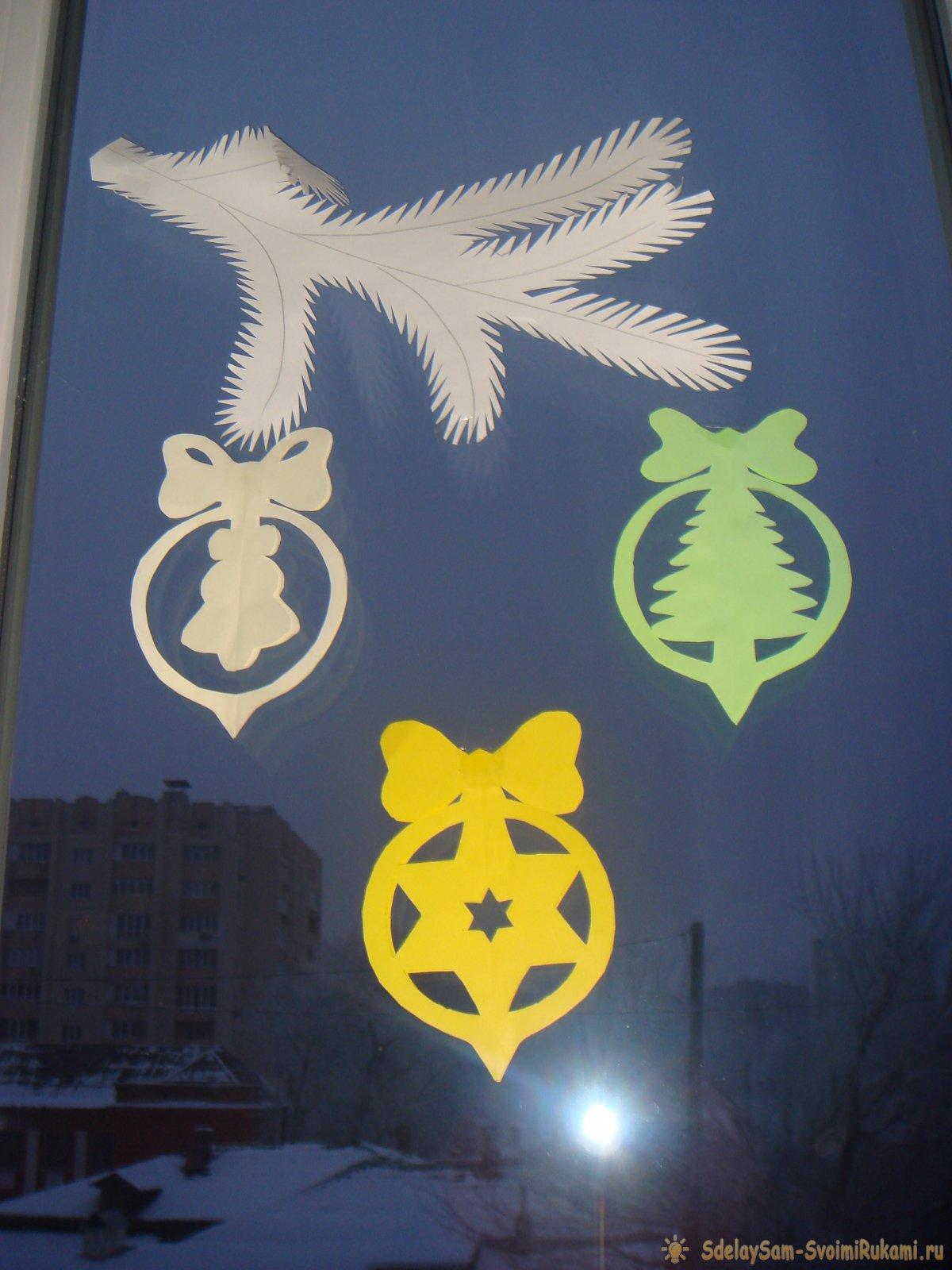 Декор окон к новогодним праздникам