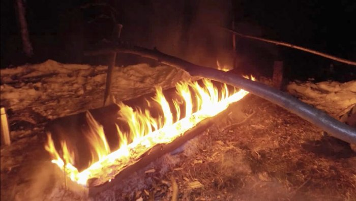 Нодья - самый долго горящий костер (более 10 часов)
