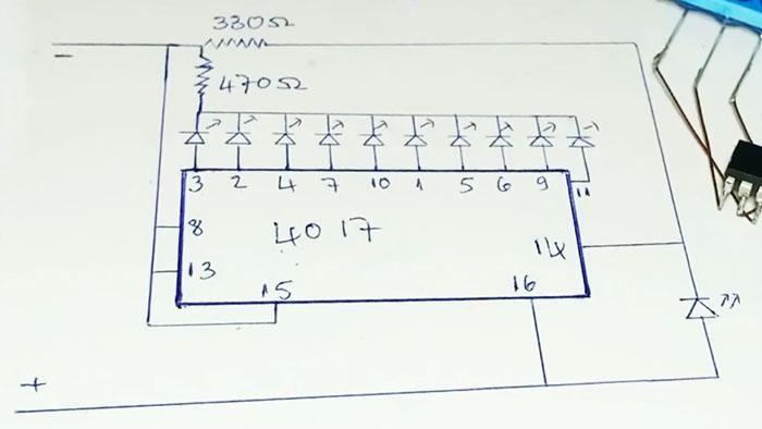 Простейшие бегущие огни всего на одной микросхеме без программирования