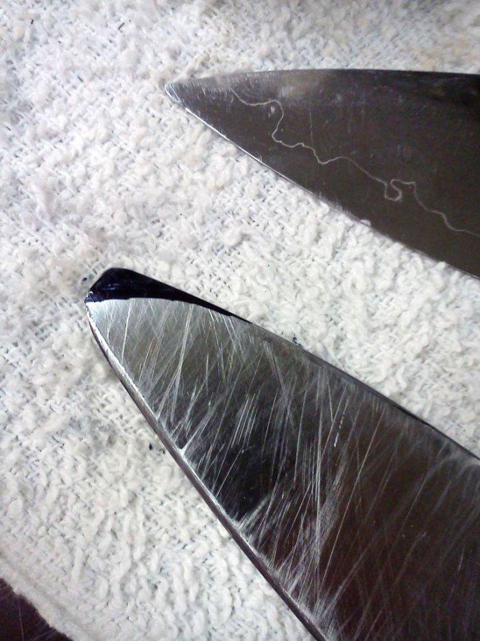 Как отремонтировать кухонный нож с отломанным носиком острием