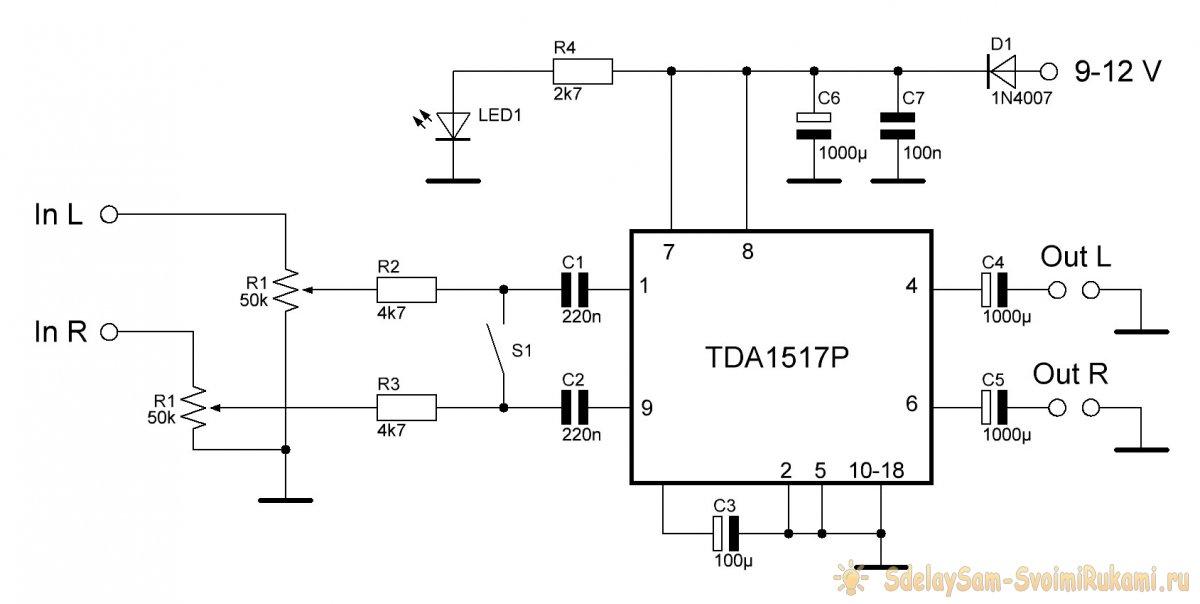 Портативный усилитель на TDA1517
