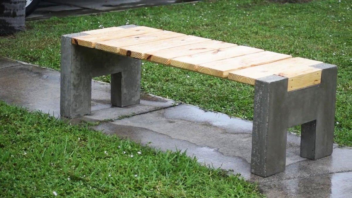 Как сделать уличную скамью из бетона и дерева