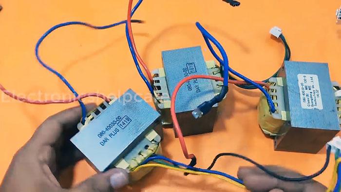 Мощный трансформатор из трех маломощных