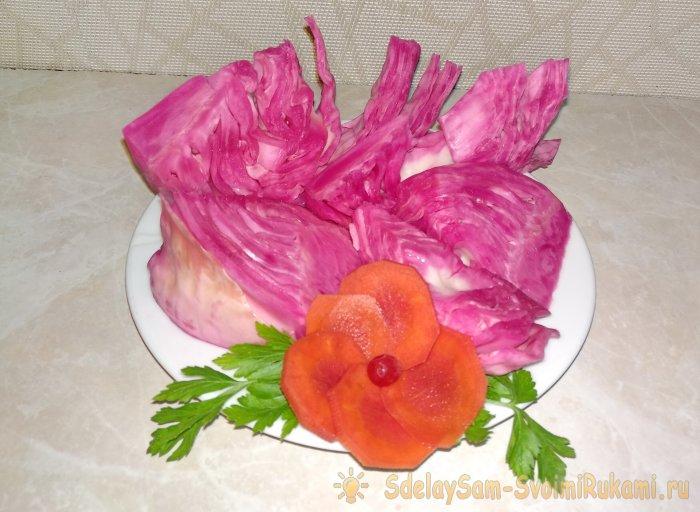 Хрустящая квашеная капуста со свеклой быстрое приготовление