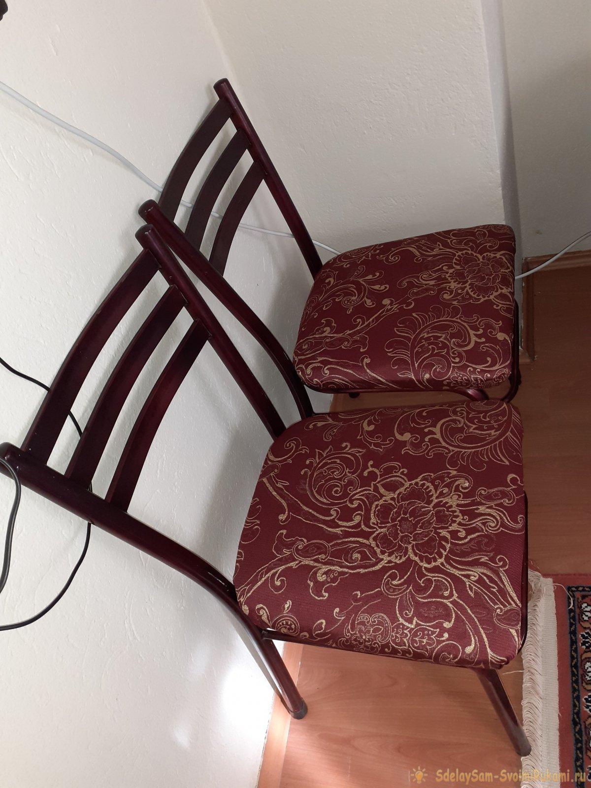 Заменил обшивку старого стула и получил оригинальную мебель