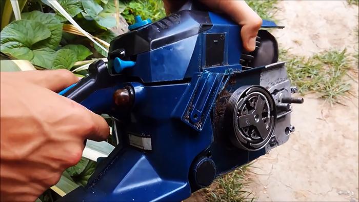 Самокат с движком бензопилы и редуктором болгарки