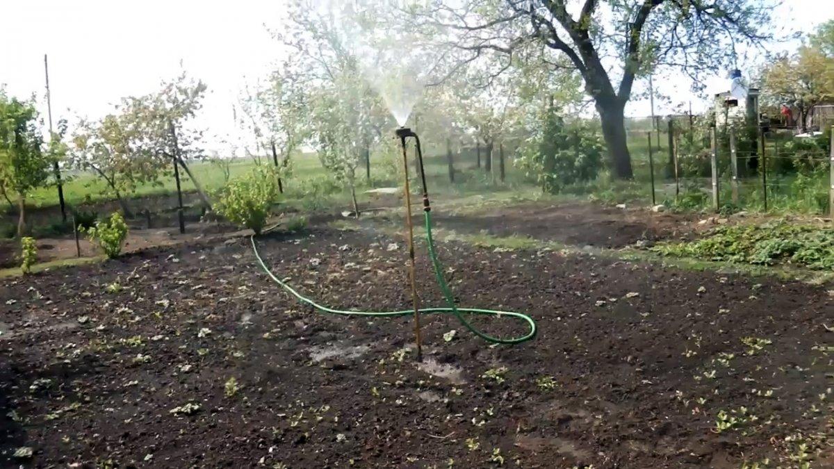 Как сделать дождеватель для полива большой площади из одной точки