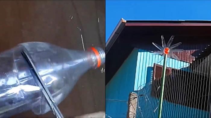 Как из ПЭТ бутылки за 5 минут сделать простой ветряк - флюгер